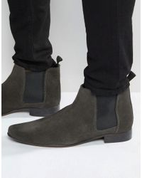 ASOS - Gray Chelsea Boots In Suede for Men - Lyst