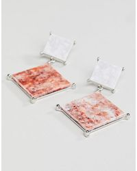 ASOS - Metallic Earrings With Coloured Marble Effect Recycled Cotton Stone - Lyst