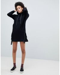 Iceberg - Black Tonal Logo Grosgrain Drawcord Hoody Dress - Lyst