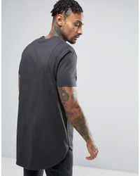 ASOS - Super Longline T-shirt In Gray With Curved Hem In Gray for Men - Lyst