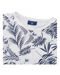 Gant - Blue Leaf Print T-shirt for Men - Lyst