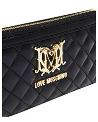 Moschino - Black Love Quilted Heart Logo Wallet - Lyst