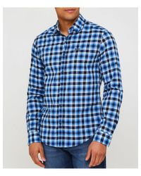 BOSS - Blue Regular Fit Barnei_r Check Shirt for Men - Lyst