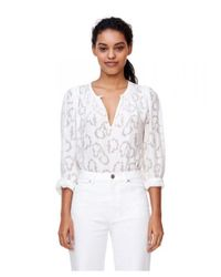 Rebecca Taylor - White Long Sleeve Satin Jacquard Top In Snow - Lyst