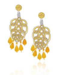 Anna E Alex | Yellow & Silver Pavone Chandelier Earrings | Lyst