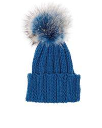 Inverni   Blue Cashmere Fur Bobble Hat   Lyst