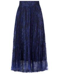 Philosophy Di Lorenzo Serafini | Blue Navy Lace Pleated Midi Skirt | Lyst