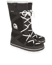 Sorel | Black Glacy Explorer Long Boots | Lyst