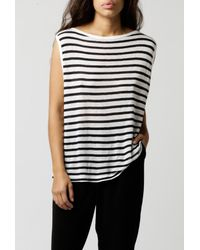 T By Alexander Wang - Blue Linen Boatneck Muscle Tee - Lyst