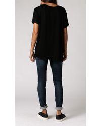 Anine Bing   Black Raw Hem T-shirt   Lyst