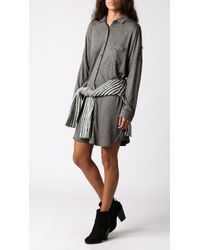 Blq Basiq - Gray Button Down L/s Dress - Lyst