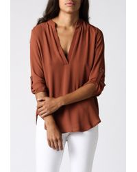 Azalea - Brown Laguna Roll Sleeve Tunic - Lyst