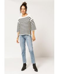 Azalea - Black Stripe Tie Detail Sweater - Lyst