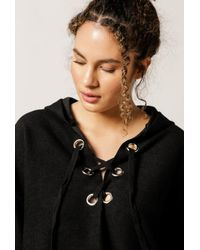 NYTT | Black Lace Up Hoodie | Lyst