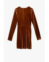 Azalea - Brown Velvet Twist Long Sleeve Mini Dress - Lyst