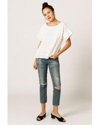 Azalea | White Textured Round Neck Blouse | Lyst
