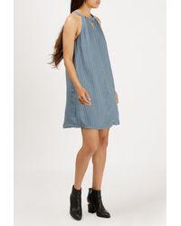 Azalea - Blue Sleeveless Stripe Keyhole Dress - Lyst