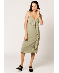 Azalea - Green Mini Ruffle Front Cami Dress - Lyst