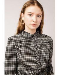 Azalea - Black Collar Checkered Top - Lyst