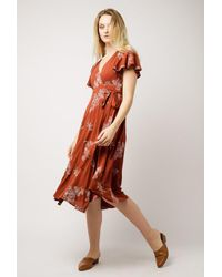 Azalea - Multicolor Floral Wrap Midi Dress - Lyst