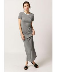 Azalea | Gray Striped Maxi T-shirt Dress | Lyst