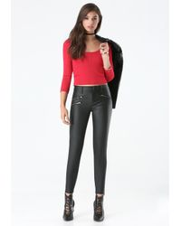 Bebe - Red Ribbed Scoopneck Sweater - Lyst