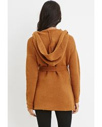 Forever 21 - Brown Belted Open-front Cardigan You've Been Added To The Waitlist - Lyst