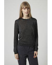 TOPSHOP - Gray Lurex Fine Gauge Knit Sweater - Lyst