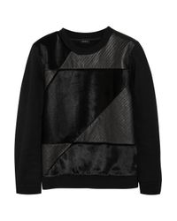 Theory | Black Leather And Calf Hair-Paneled Cotton-Blend Sweatshirt | Lyst