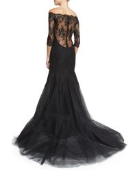 Monique Lhuillier - Black Off-the-shoulder Chantilly Lace Mermaid Gown - Lyst
