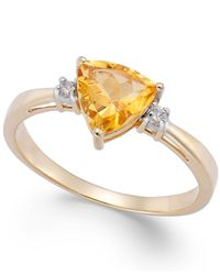 Macy's | Metallic Citrine (1-1/10 Ct. T.W.) And Diamond Accent Ring In 14K Gold | Lyst