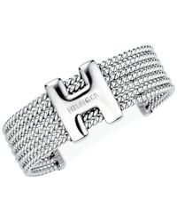 "Tommy Hilfiger - Metallic ""H"" Enamel Rope Classic Signature Cuff Bracelet - Lyst"