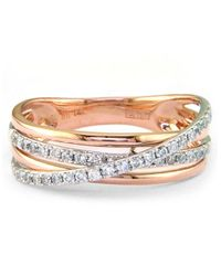 Effy | Metallic Pave Rose 14 Kt Rose Gold Layered Diamond Band | Lyst