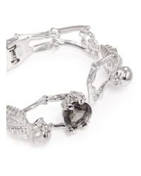 Alexander McQueen | Metallic Skeleton Crystal Bracelet | Lyst