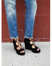 Free People - Black Three Wishes Lace Up Wedge - Lyst