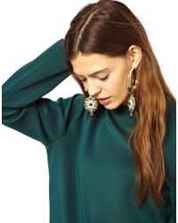 ASOS - Metallic Flower Drop Hoop Earrings - Lyst