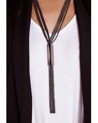 Missguided | Tassel Necklace Metal Trim Black | Lyst