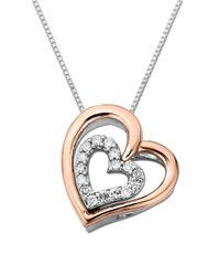 Lord & Taylor | Pink Sterling Silver Necklace With 14k Rose Gold And Diamond Two Hearts Pendant | Lyst