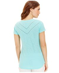 DKNY | Blue Lace-Trim Scoop-Neck Tee | Lyst