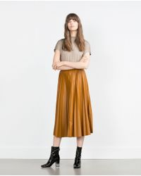 Zara | Natural High Neck T-shirt | Lyst