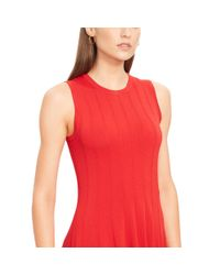 Ralph Lauren | Red Knit Sleeveless A-line Dress | Lyst