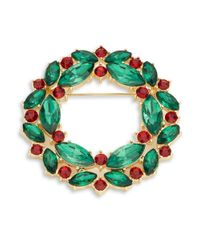 R.j. Graziano | Green Crystal Wreath Pin | Lyst