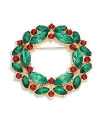 R.j. Graziano   Green Crystal Wreath Pin   Lyst
