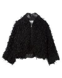 Comme Des Garçons Noir Kei Ninomiya - Black Cropped Ribbon-Detail Jacket  - Lyst