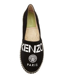KENZO - Black Logo Canvas Espadrille Flat - Lyst