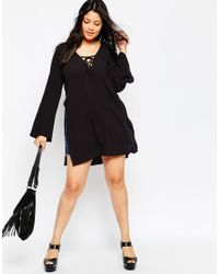 Asos Curve | Black 70's Lace Front Tunic Top | Lyst