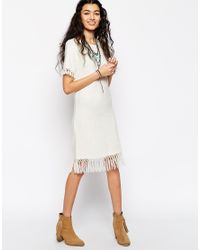 ASOS - White Slub Knit Dress With Fringing - Lyst