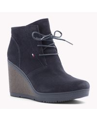 Tommy Hilfiger | Black Suede Wedge Ankle Boot | Lyst