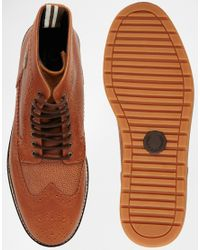 Fred Perry - Brown Northgate Leather Brogue Boots for Men - Lyst