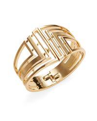 Trina Turk | Metallic Hinged Openwork Cuff Bracelet | Lyst